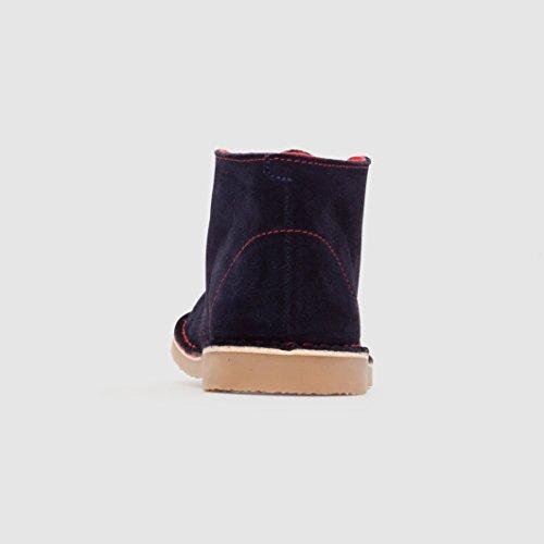 R Essentiel Bambino Boots Pelle Scamosciata Con Lacci Colorati Marine