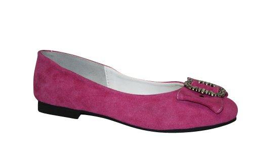 Damen Trachten Leder Ballerinas pink