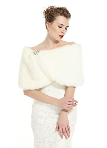 Beautelicate pelliccia stola scialle donna sciarpa elegante per matrimonio invernale cerimonia sposa damigella spilla gratis