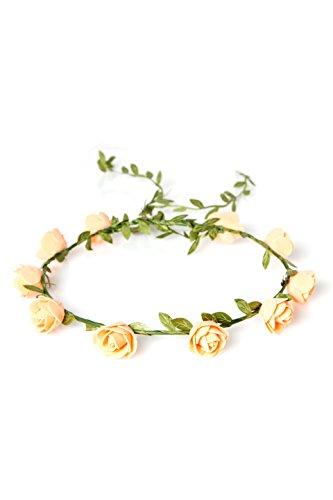 floristikvergleich.de BavaRoi Modischer Blütenhaarkranz aus Rosenblüten in 5 verschiedenen Farbvariationen. Haarschmuck passend zum Festival, Hochzeit und Volksfest, farblich sortiert