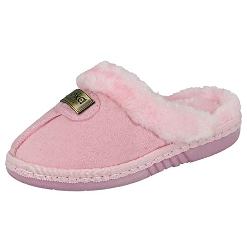 Yinka Shoes Ladies Girls Kids Faux Suede Fur Trim Lined Comfort Memory Foam Slip On Mule Slippers Size Infant 10- UK 9