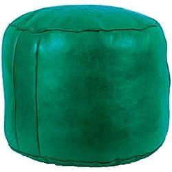 Horus Artesanía de Egipto Pouff Puff Leather Cuero Footstall Liso Color (Verde)