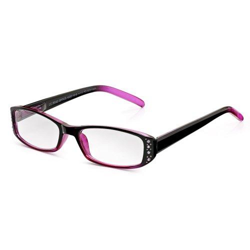 Read Optics schöne Lesebrille mit Vollrand für Damen: In durchsichtigem Brombeer/Pink mit schicken Details aus Nieten und Diamanten. Robustes und leichtes Polykarbonat mit ovalen Gläsern, Stärke +1,5