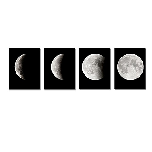 Wieco Art - Modern Giclee Canvas Prints Stretched Artwork Abstract Space Black and White Pictures to Photo Paintings on Canvas Wall Art for Home Office Decorations Wall Decor 4pcs/set