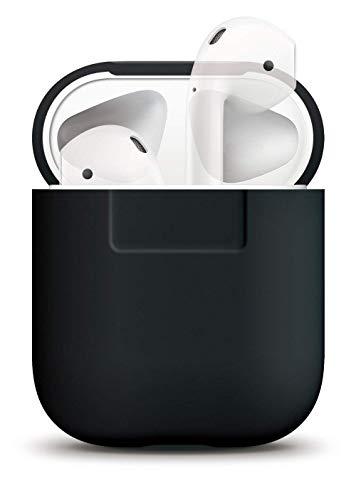 elago Silikonhülle Kompatibel mit Apple AirPods 1 & 2 (LED an der Frontseite Nicht Sichtbar) - [Unterstützt kabelloses Laden] [Stoßfeste Schutzhülle] [Perfekt Passt Hülle] - Schwarz Schutzhülle Case