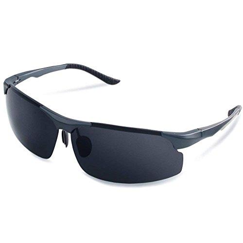 AMO Polarisierte Sonnenbrille Herren Outdoor Sportbrille 100% UV400 Schutz für Fahren Golf Autofahren Outdoor Sport Sonnenbrille 70mm - Silber