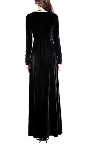 SMITHROAD Damen Kleid Abendkleider Ballkleider Gold Samt Lang Langarm V-Ausschnitt Festlich Elegant Einfarbig Schwarz