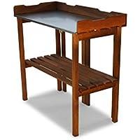 Macetero mesa plegable con trabajo galvanizada marrón B90x T40x 86cm