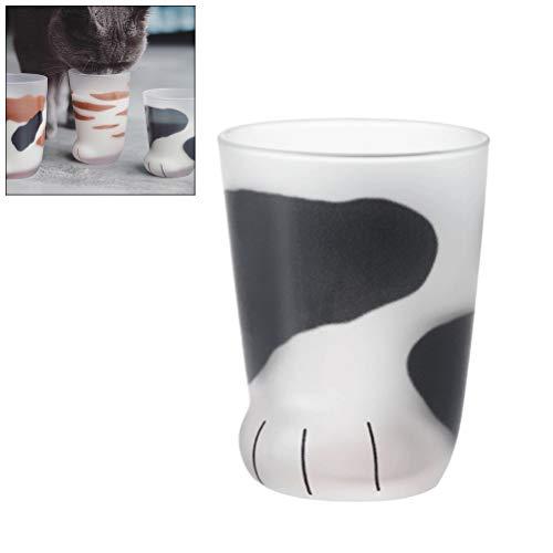 Taza de vidrio de pata de gato, taza de comida para gatos resistente al calor creativo taza de leche vidrio de whisky de té Valentín 300 ml (1)