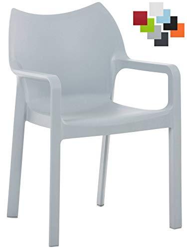 CLP Kunststoff-Gartenstuhl Diva mit Armlehnen I XXL- Kunststoffstuhl mit Einer Belastbarkeit von 160 kg Hellgrau