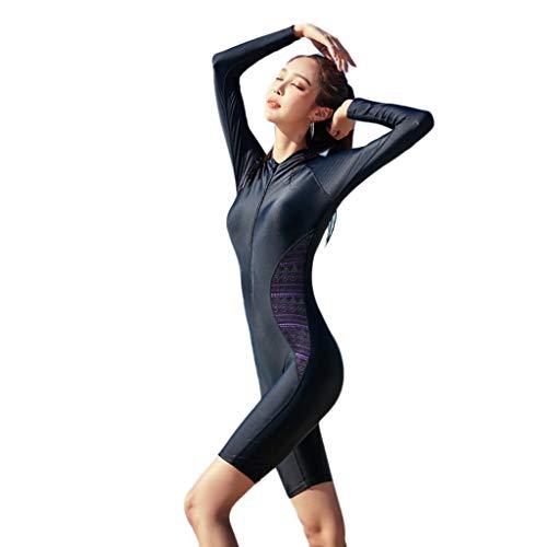 Combinaison de plongée à Manches Longues Siamois for Femmes de Grande Taille Ajouter Un Engrais élastique avec Une Protection de la Poitrine Zipper Maillot de Bain Protection Solaire Plongée en apnée