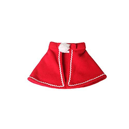 BESTOYARD Hund Katze Weihnachten Mini Kapuzen Umhang Haustier Winter warme Clork Kleidung Kostüm rot