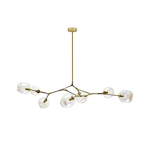 Moderne Kronleuchter Gold Eisen Klarglas Pendelleuchte mit 7 Leuchten, Galvanik Finish, L180cm * B73cm * H45cm