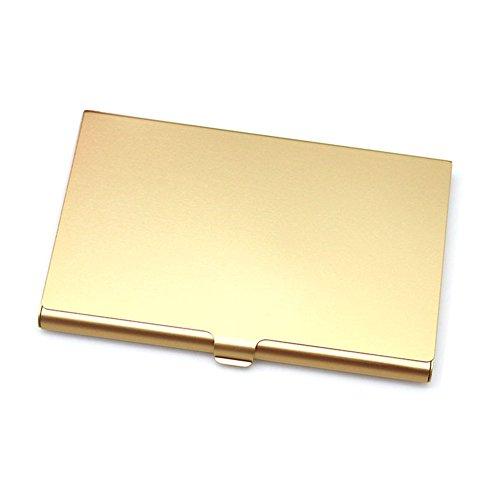 GEZICHTA Slim Geldbörse RFID Kreditkarte Displayschutzfolie, glatte Edelstahl Kreditkarte Halter für Herren Frauen, Cool Slim Metall Business Karte Fall, gold (Geldbörse Inhaber Fall)