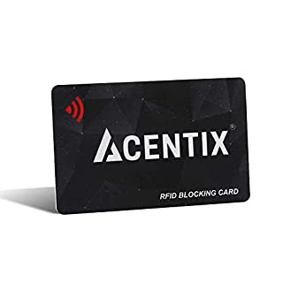 ACENTIX RFID/NFC Signal Blocker Karte, Kredit-/Debitkartenschutz für Ihren Geldbeutel oder Brieftasche | Keine Batterien erforderlich, keine umständliche Tasche - Schwarz