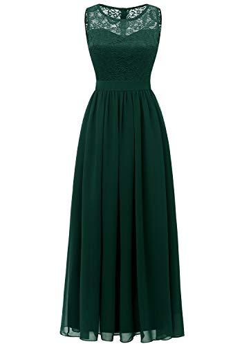 Aupuls 0046 Abendkleid Basic Chiffon Spitzen Ärmellos Brautjungfernkleider Bodenlang Grün S