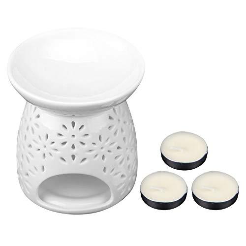 Duftlampe Teelicht,Aromalampe,Klassische multi-flower muster weiß keramik ätherisches öl teelicht halter wärmer halter mit 3 stück kerzen für home office lounge restaurant hotel cafés -