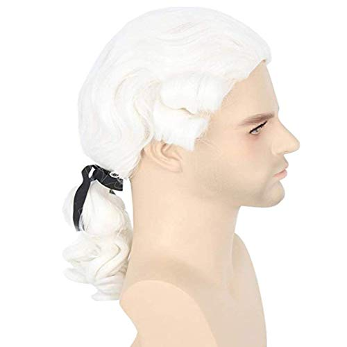 RANRANHOME Männer Kolonial Kostüm Wig Historischer Richter White -