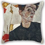 Elegancebeauty Oil Painting Egon Schiele - Self-Portrait With Physalis Throw Pillow Case 20 X 20 Inches / 50 By 50 Cm For Bf,festival,home Office,kids Boys,pub,wedding With Double Sides