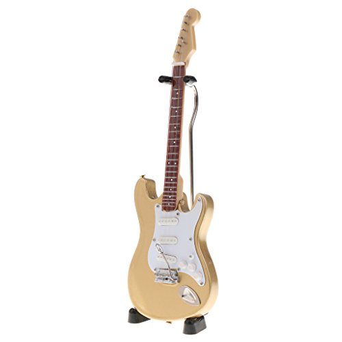 MagiDeal 1: 6 Puppenhaus Zubehör Mini E-gitarre Holz Musikinstrumente Modell Mit Stand - # 1