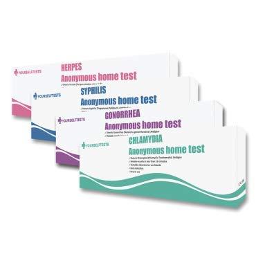 Komplete Geschlechtskrankheiten Test Paket. Test für Chlamydien, Gonorrhoe, Syphilis und Herpes zu Hause. Sofortige Ergebnisse.