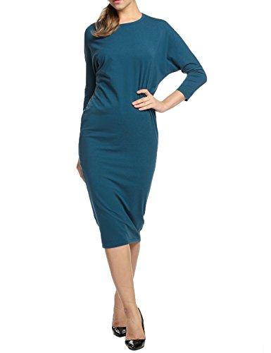 HOTOUCH Abbigliamento Casual Midi per le donne a pipistrello manica lunga aderente Algodon Lapiz Vestido elegante punto di collo rotondo ideale per la festa di notte lavorano all'aperto Blu