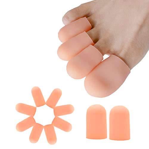 Sumifun--10 Stücke 100% Gel Zehenkappen mit komfortablen und weichen Schutzmaterialien, Schutz vor Blasenbildung, geeignet für den großen und kleinen Zeh (Pink)