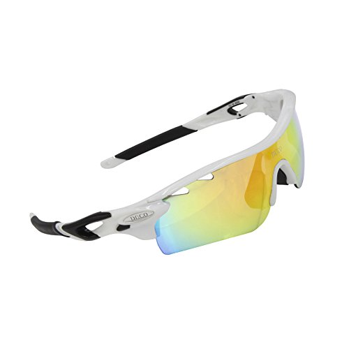 Duco POLARIZED Sports Sunglasses Cycling Glasses With 5 Interchangeable Lenses 0025 White Frame Black Arms