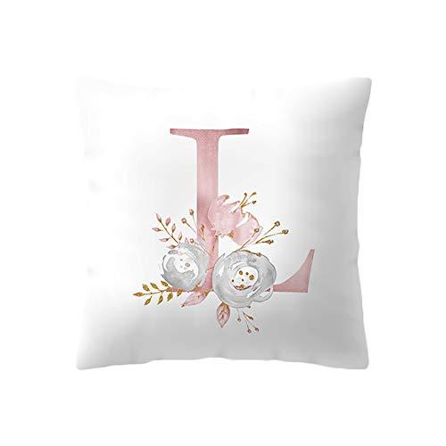 BIGBOBA Kreativ Brief Kissenbezug mit Blumenmuster Pillowcase Sofa Kissen Englisch Alphabet Kissenbezüge Dekorativer Kissenbezug 45cm*45cm (L) (L Dekorative Buchstaben)