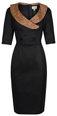Lindy Bop 'Deanna' Glamourous Black Vintage Forties Fifties Style Fitted Wiggle Dress (22)