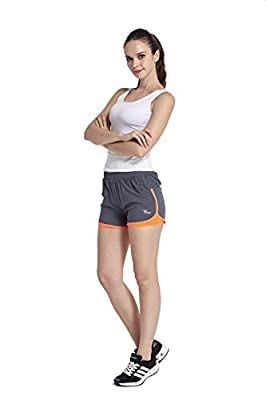 Phibee Women's 2-in-1 Running Shorts Elasticity Lightweight Trousers
