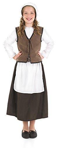Mädchen Tudor Viktorianisch Küche Hand Dienstmädchen Spülküche Dienstmädchen Historisch Mädchen Büchertag Kostüm Kleid Outfit - Braun, 8-10 Jahre (Tudor Dienstmädchen Kostüm)