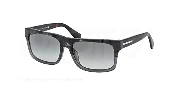 80cd665bb20 PRADA PR 18PS Sunglasses RO32D0 Spotted Black Matte Grey 56-18-140   Amazon.co.uk  Clothing
