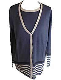 c36c56a75bd501 Damen Feinstrick Twin Set Cardigan und Top blau/weiß Gr. 42 44 46 48