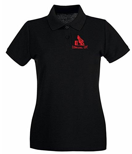 T-Shirtshock - Polo pour femme FUN1083 cowgirl up barrel racer decal 54393 Noir