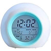 JER Multi Funktions Runde Form Entfärbte LED bunter natürliche Ton Wecker  weiß und blau 1PC Haushaltsgegenstände preisvergleich bei billige-tabletten.eu