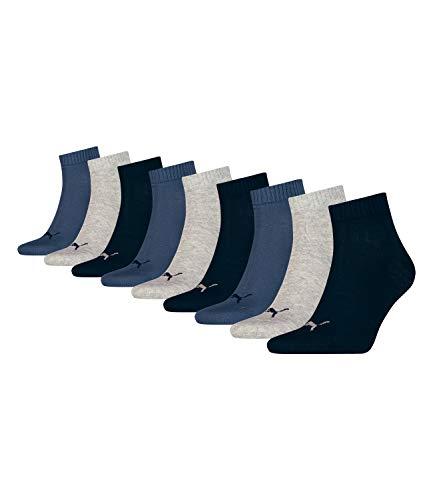 Puma unisex Quarter Sportsocken Kurzsocken Socken 271080001 9 Paar, Farbe:Mehrfarbig, Menge:9 Paar (3x 3er Pack), Größe:39-42, Artikel:271080001-532 navy/grey/nightshadow blue -