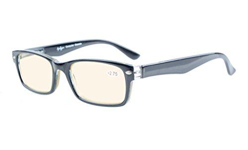 Eyekepper Spring Scharniere UV-Schutz, Blendschutz, Anti Blue Rays, Kratzfestes Objektiv Computer Brillen (Gelb getönte Linsen, schwarz)