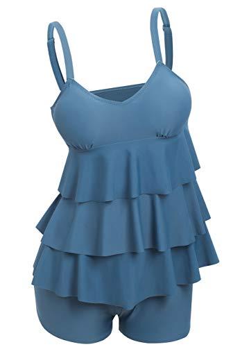 Ecupper Damen Badeanzug mit Boyshort Gepolstert Bauchweg Zweiteiler Tankini Sets Rüschen Große Größen Grau Blau DE48 -