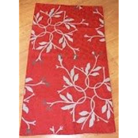 Crewel Rug Autumn Branches White on Red