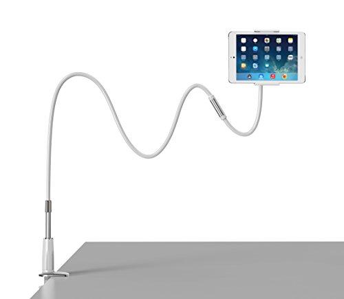 iPad Halterung,Coomoors Mehrfunktional Abnehmbar iPad Halter Ständer mit Schwanenhals 360 Drehen Tablet Halterung Kindle Halterung Handyhalter Handy Halterung Tablet Halter-Silver (Lange Arm-tablet-halterung)