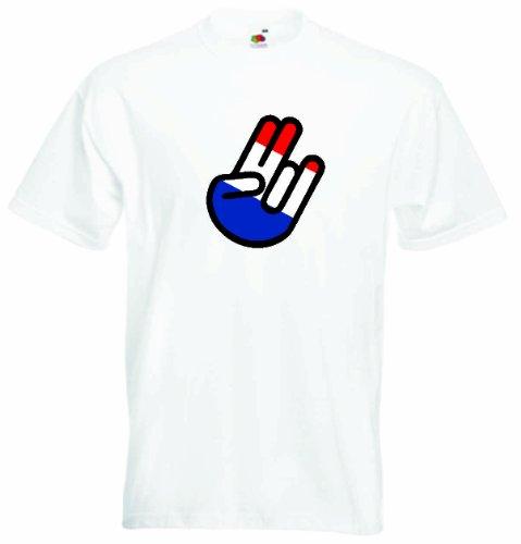 T-Shirt The Shocker Hand Herren mit Fahne / Flagge - United Arab Emirates-Vereinigte Arabische Emirate Weiß