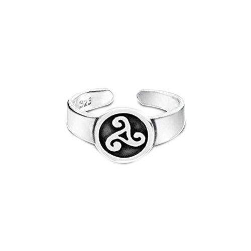 Keltisch Trinity Knot Arbeit Kreis Triquetra Midi- Zehe Ringe für Damen Jugendlich Oxydiert Silber Sterling Einstellbar
