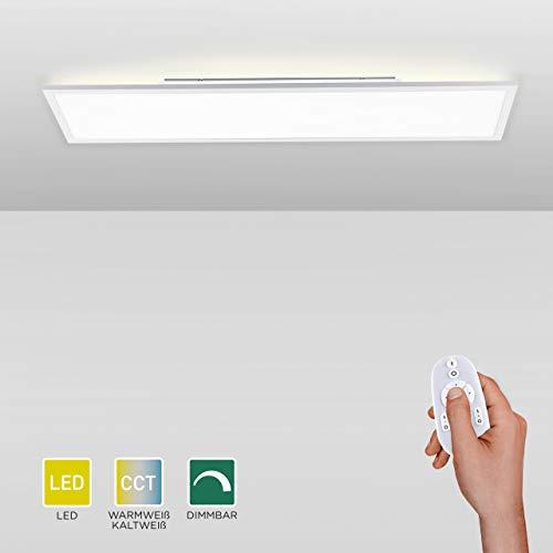 LED Panel dimmbar, 120x30, Decken-Lampe mit indirekter Deckenbeleuchtung | Farbtemperatur mit Fernbedienung einstellbar, warmweiss - kaltweiss | Decken-Leuchte flach für Wohnzimmer, Küche und Bad