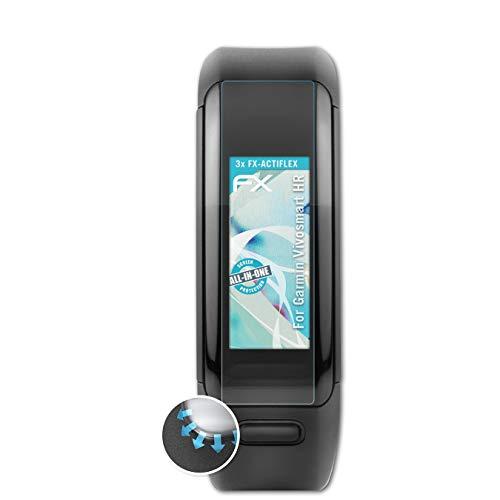 atFoliX Schutzfolie passend für Garmin Vivosmart HR Folie, ultraklare & Flexible FX Bildschirmschutzfolie (3X)