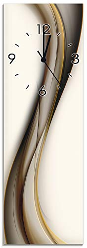 Artland Qualitätsuhren I Funk Wanduhr Designer Uhr Glas Funkuhr Größe: 20 x 60 cm Schön abstrakt braun Welle Design Hintergrund I8MK Streifen Braun