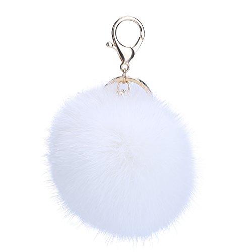 niceEshop(TM) Porte- Clés / Pendentif de Sac avec Balle en Fourrure de Lapin (Blanc)