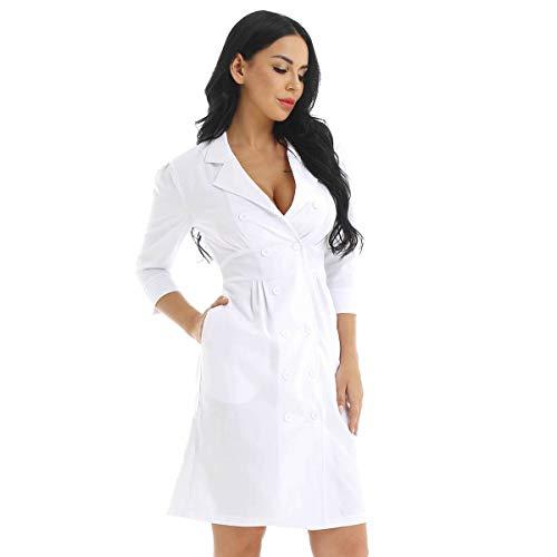Kostüm Weiß Krankenschwester - iEFiEL Sexy Frauen Laborkittel Arztkittel Damen Kostüm Krankenschwester Kleid Weißer Mantel Arbeitskleidung Uniform Cosplay Babydoll Lingerie Weiß Large