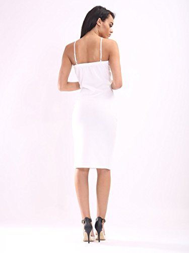 Damen V- Cut Cami figurbetontes Kleid EUR Größe 36-42 Weiß