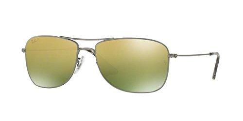 ray-ban-rb-3543-pilot-tropfenformig-metall-herrenbrillen-matte-ruthenium-green-gold-mirror-polarized